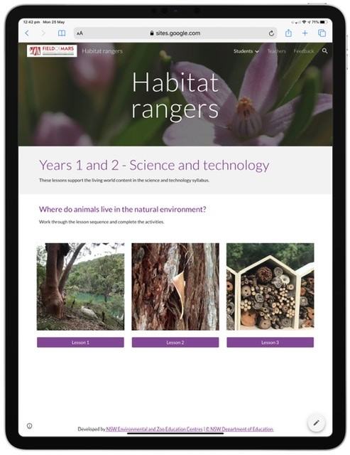Screenshot of habitat rangers learning resource website.