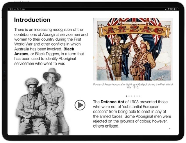 Screenshot of the Black Anzacs Multi-Touch Book.