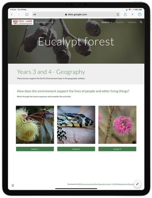 Screenshot from eucalypt forest learning resource website.