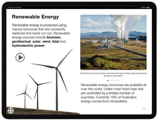 Screenshot of the Energy Multi-Touch book