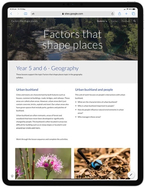 Screenshot from factors that shape places learning resource website.