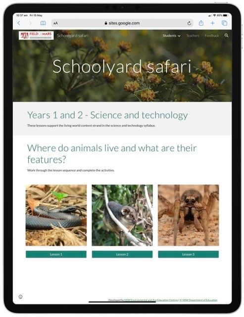 Screenshot of schoolyard safari learning resource website.