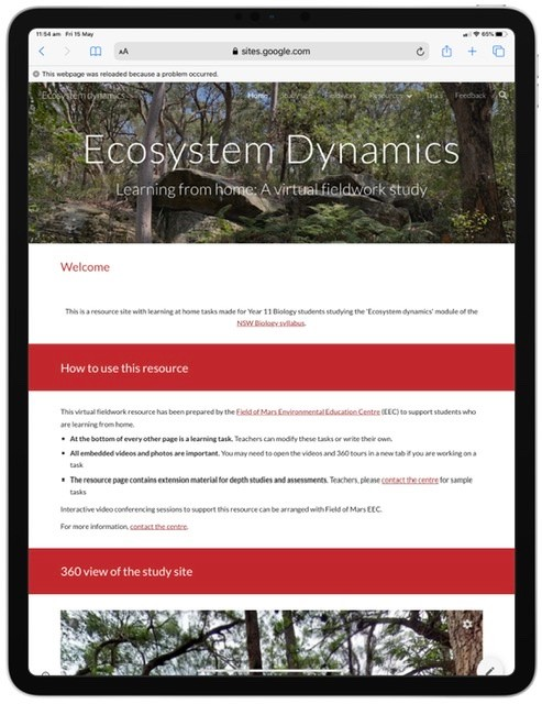 Screenshot from ecosystem dynamics learning resource website.