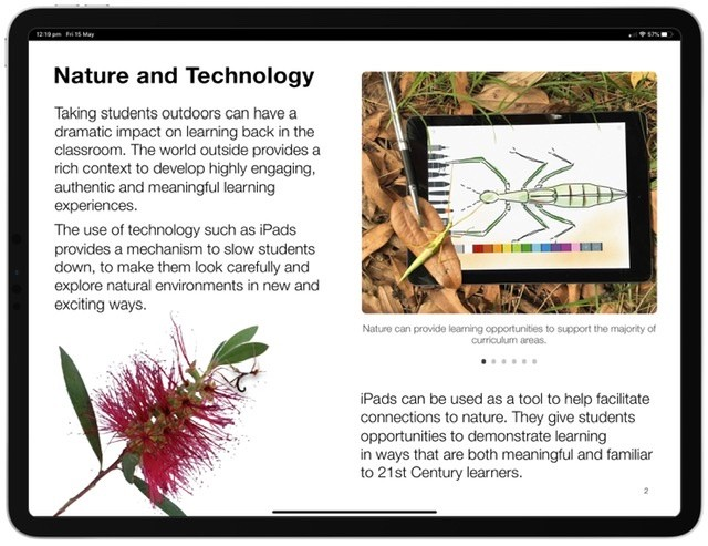 Screenshot of the Learning Outside with iPad Multi-Touch Book.