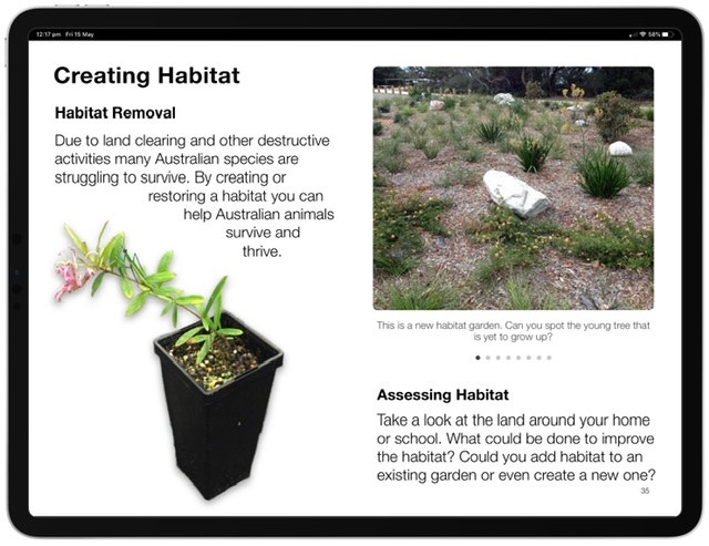 Screenshot of the Habitat Multi-Touch Book.