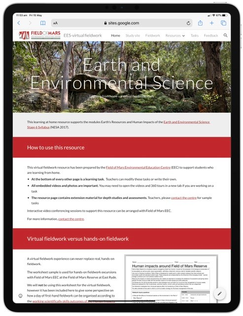 Screenshot from earth and environmental science learning resource website