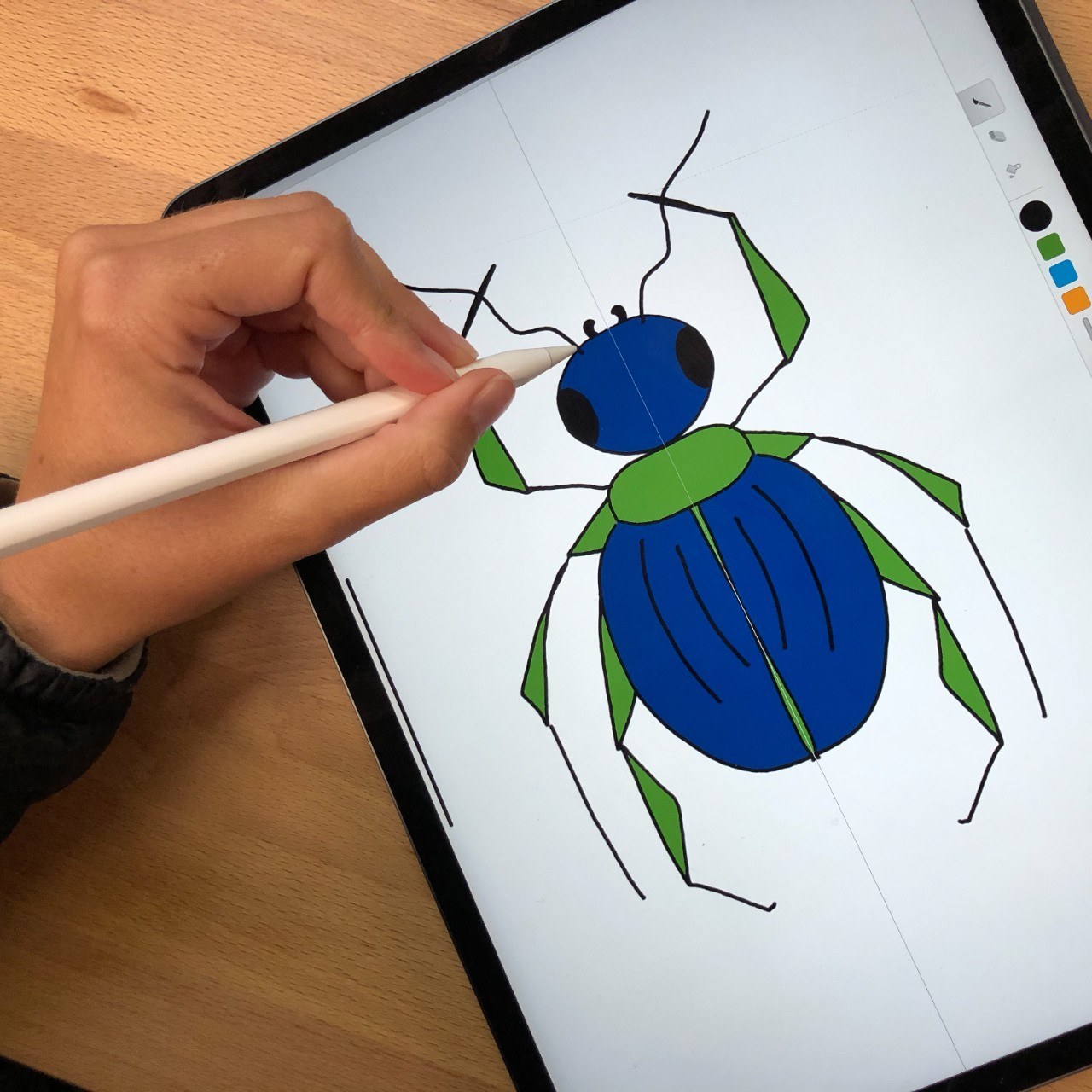 student drawing a beetle on an iPad